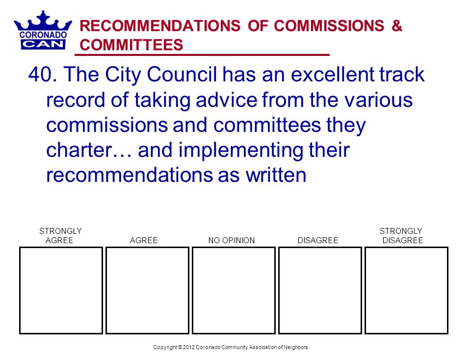 Copyright © 2012 Coronado Community Association of Neighbors RECOMMENDATIONS OF COMMISSIONS & COMMITTEES 40.