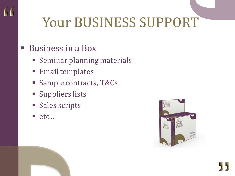 Your BUSINESS SUPPORT Business in a Box Seminar planning materials Email templates Sample contracts, T&Cs Suppliers lists Sales scripts etc...