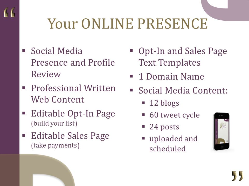 Your PRODUCTS Become an Author 15,000-20,000 book E-Book, Kindle, Print ready Second Language Translation Free Online Report Membership Strategy 6-Week Teleseminar Series Technical Setup Content Creation Recorded 1 x FREE Audio Giveaway 5 x 1-Hour Audio Products Ready for Sale
