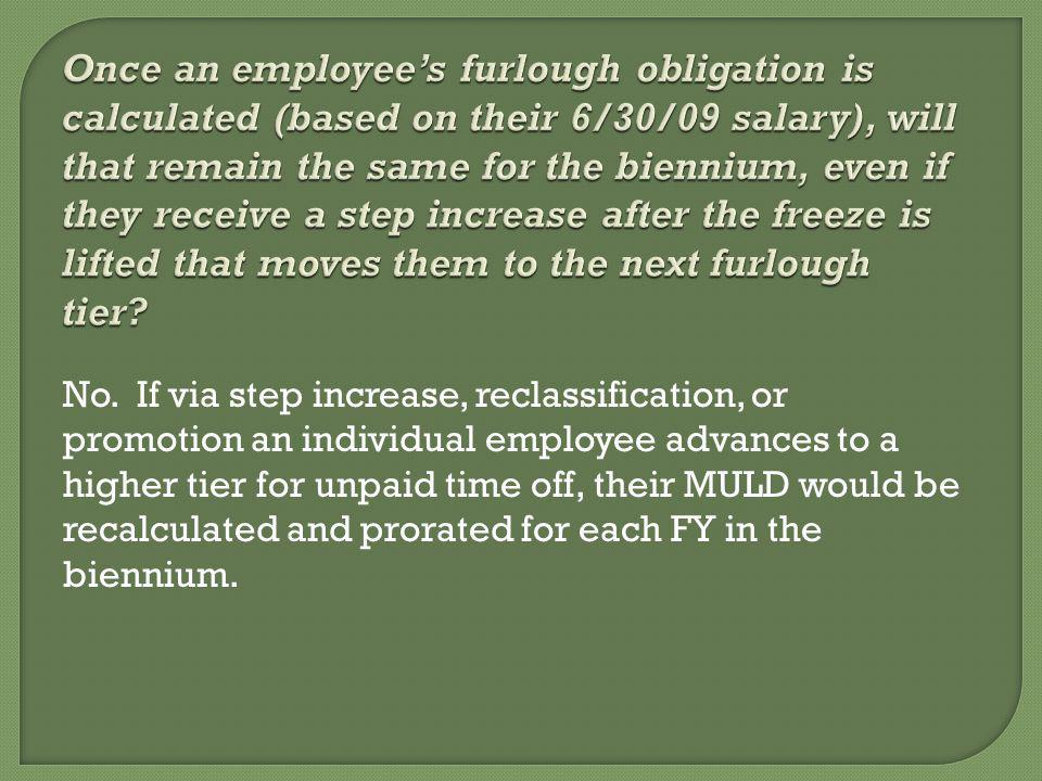 No. If via step increase, reclassification, or promotion an individual employee advances to a higher tier for unpaid time off, their MULD would be rec