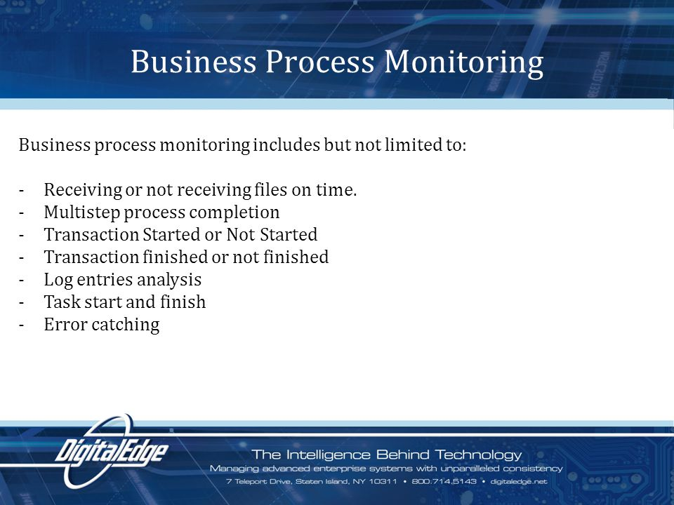 Business Process Monitoring Business process monitoring includes but not limited to: -Receiving or not receiving files on time.