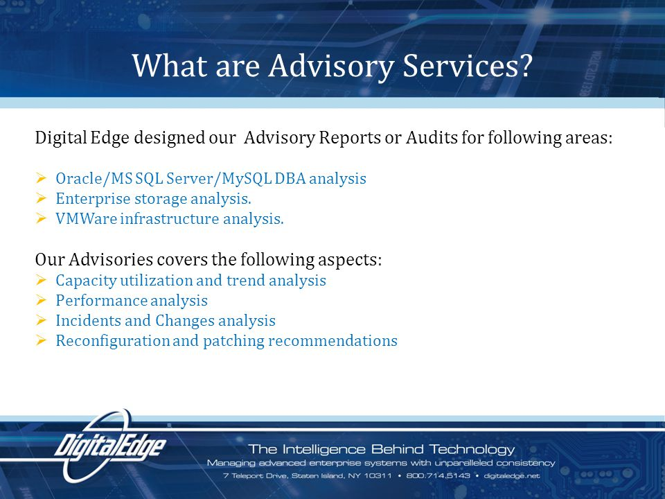 What are Advisory Services.