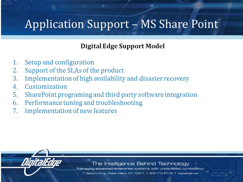 Application Support – MS Share Point Digital Edge Support Model 1.Setup and configuration 2.Support of the SLAs of the product 3.Implementation of high availability and disaster recovery 4.Customization 5.SharePoint programing and third party software integration 6.Performance tuning and troubleshooting 7.Implementation of new features