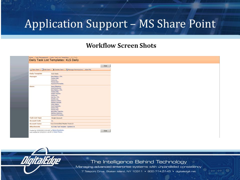Application Support – MS Share Point Workflow Screen Shots