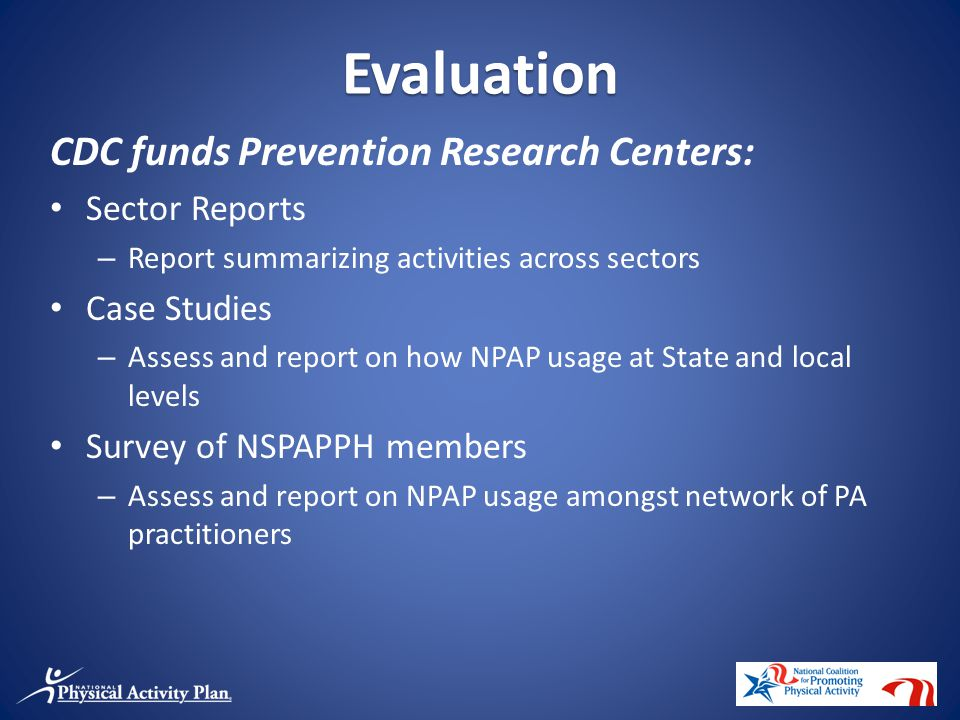 CDC funds Prevention Research Centers: Sector Reports – Report summarizing activities across sectors Case Studies – Assess and report on how NPAP usage at State and local levels Survey of NSPAPPH members – Assess and report on NPAP usage amongst network of PA practitioners Evaluation