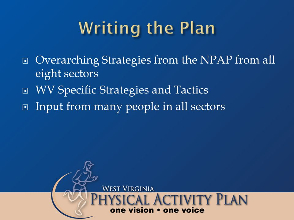 Overarching Strategies from the NPAP from all eight sectors WV Specific Strategies and Tactics Input from many people in all sectors
