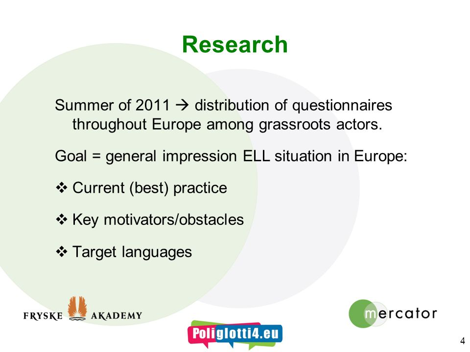 Research Summer of 2011 distribution of questionnaires throughout Europe among grassroots actors.