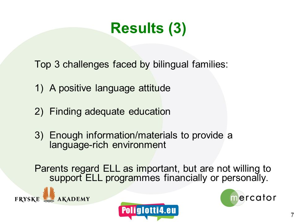 Results (3) Top 3 challenges faced by bilingual families: 1)A positive language attitude 2)Finding adequate education 3)Enough information/materials to provide a language-rich environment Parents regard ELL as important, but are not willing to support ELL programmes financially or personally.