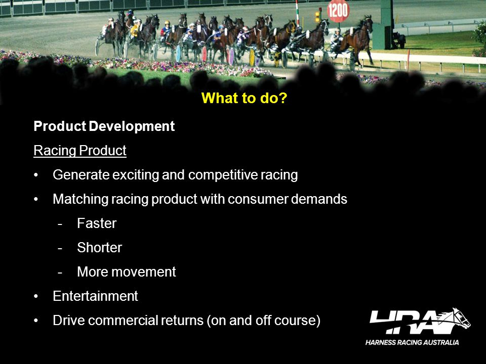 What to do? Product Development Racing Product Generate exciting and competitive racing Matching racing product with consumer demands -Faster -Shorter