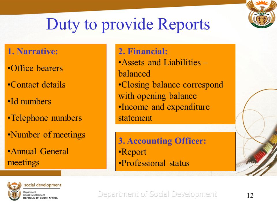 12 Duty to provide Reports Department of Social Development 1.