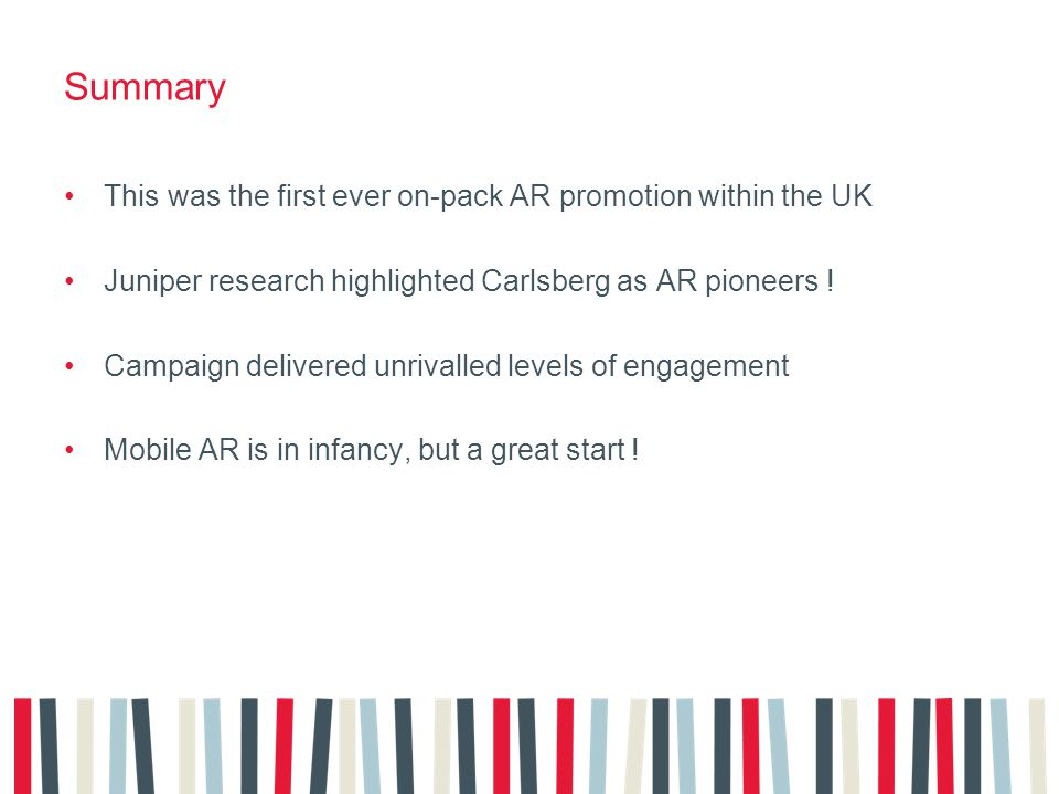 Summary This was the first ever on-pack AR promotion within the UK Juniper research highlighted Carlsberg as AR pioneers .