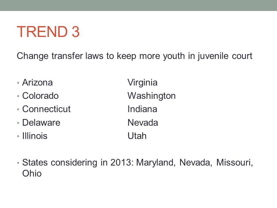 TREND 3 Change transfer laws to keep more youth in juvenile court ArizonaVirginia ColoradoWashington ConnecticutIndiana DelawareNevada IllinoisUtah States considering in 2013: Maryland, Nevada, Missouri, Ohio
