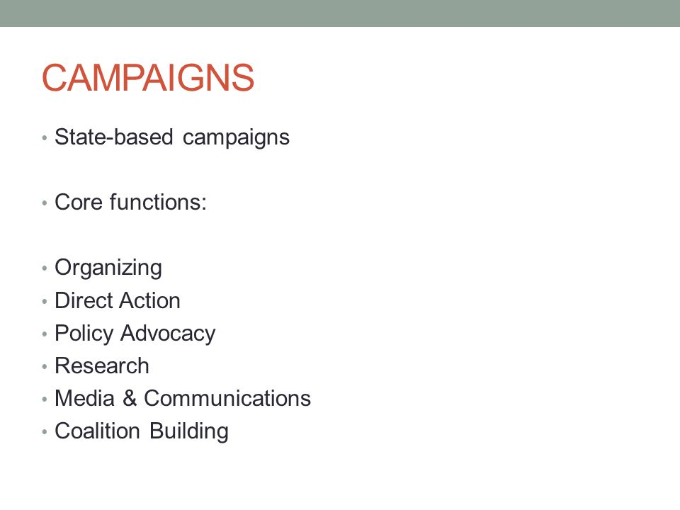 CAMPAIGNS State-based campaigns Core functions: Organizing Direct Action Policy Advocacy Research Media & Communications Coalition Building