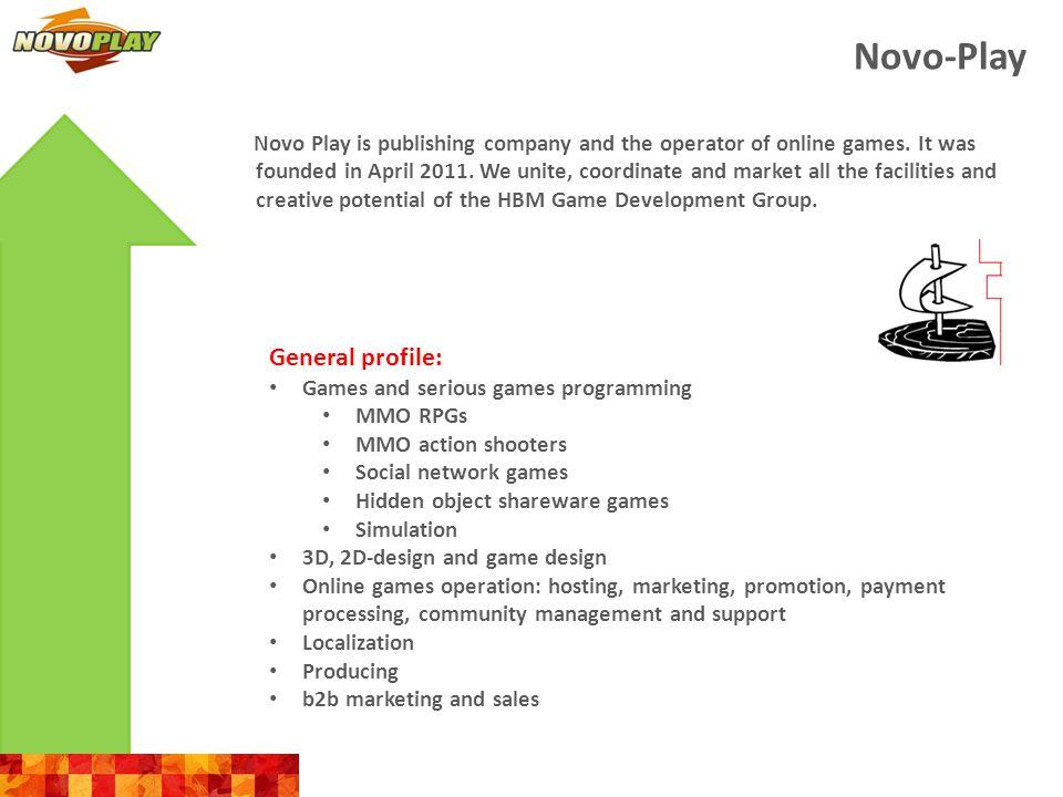 Novo-Play Development team 4 Producers 7 PMs 12 game designers 20 programmers (Flash, PHP, Ruby, C++, C#, Java, Objective-C etc.) 24 2D artists 23 3D artists 12 QAs
