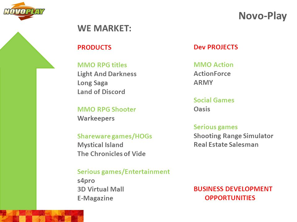 Novo-Play WE MARKET: SERVICES Development Adapting our existing products to local markets Game development based on prototypes and inhouse projects Development based on own technolgies and engines Outsourcing development from scratch Graphics outsourcing AAA-quality 3D and 2D art outsourcing Localization English, German, Arabic Publishing/online games operation