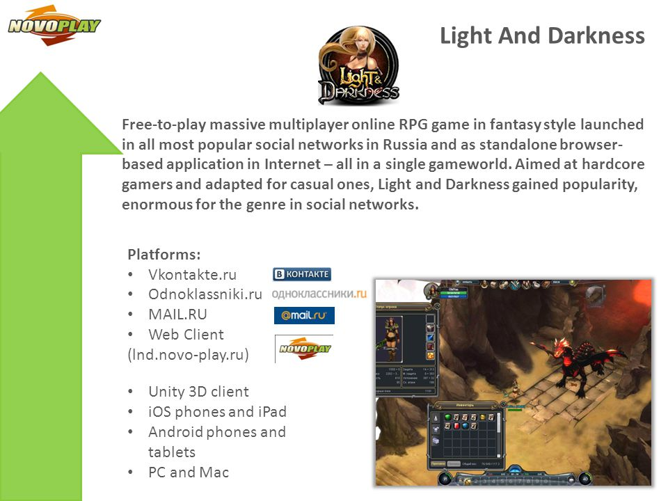 Light And Darkness KPIs: Launched in social networks first in April-August 2011 2,7 mln.