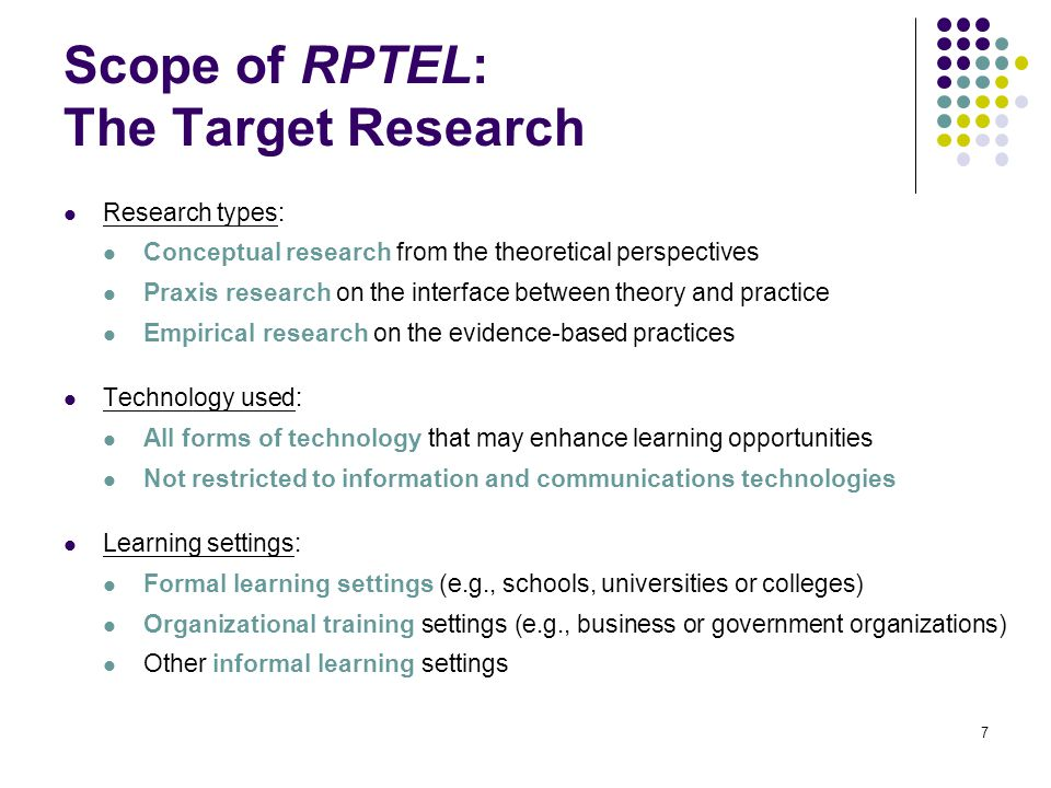 Scope of RPTEL: The Target Research Research types: Conceptual research from the theoretical perspectives Praxis research on the interface between the