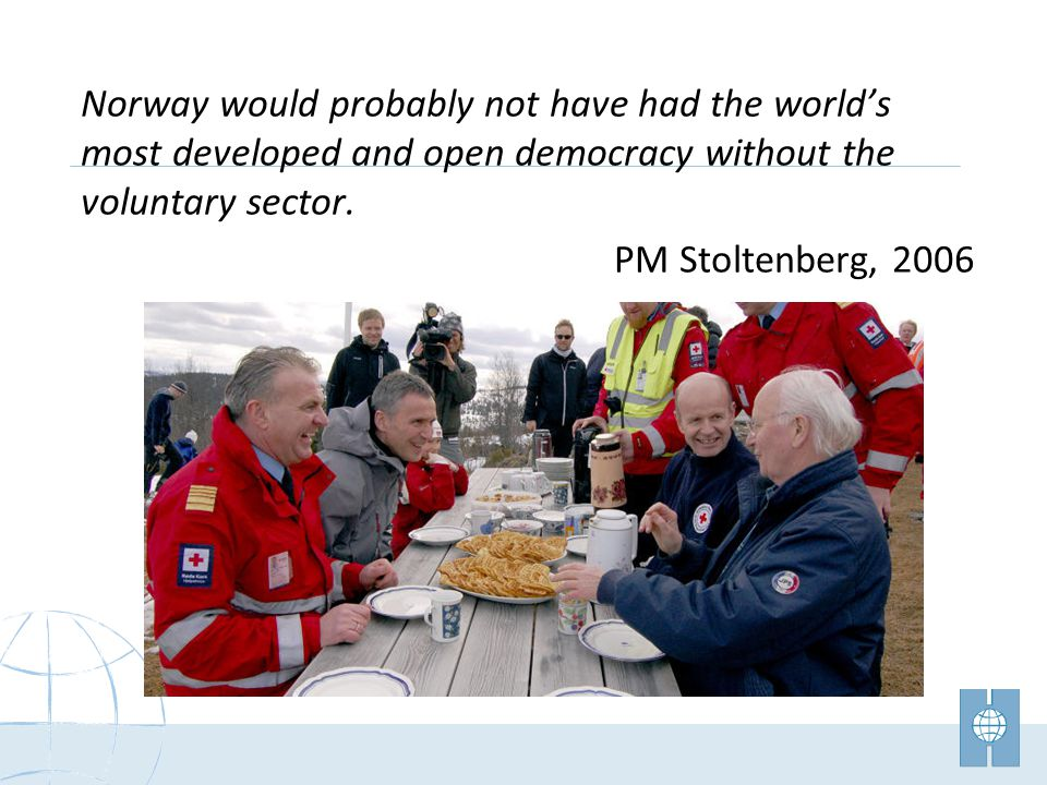Norway would probably not have had the worlds most developed and open democracy without the voluntary sector.