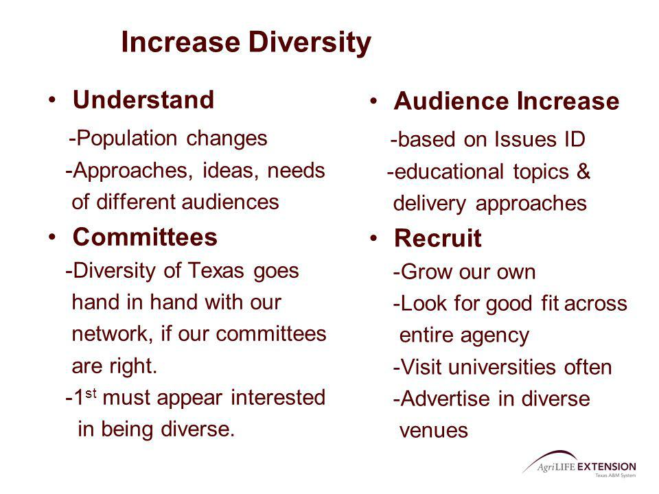 Increase Diversity Understand -Population changes -Approaches, ideas, needs of different audiences Committees -Diversity of Texas goes hand in hand wi