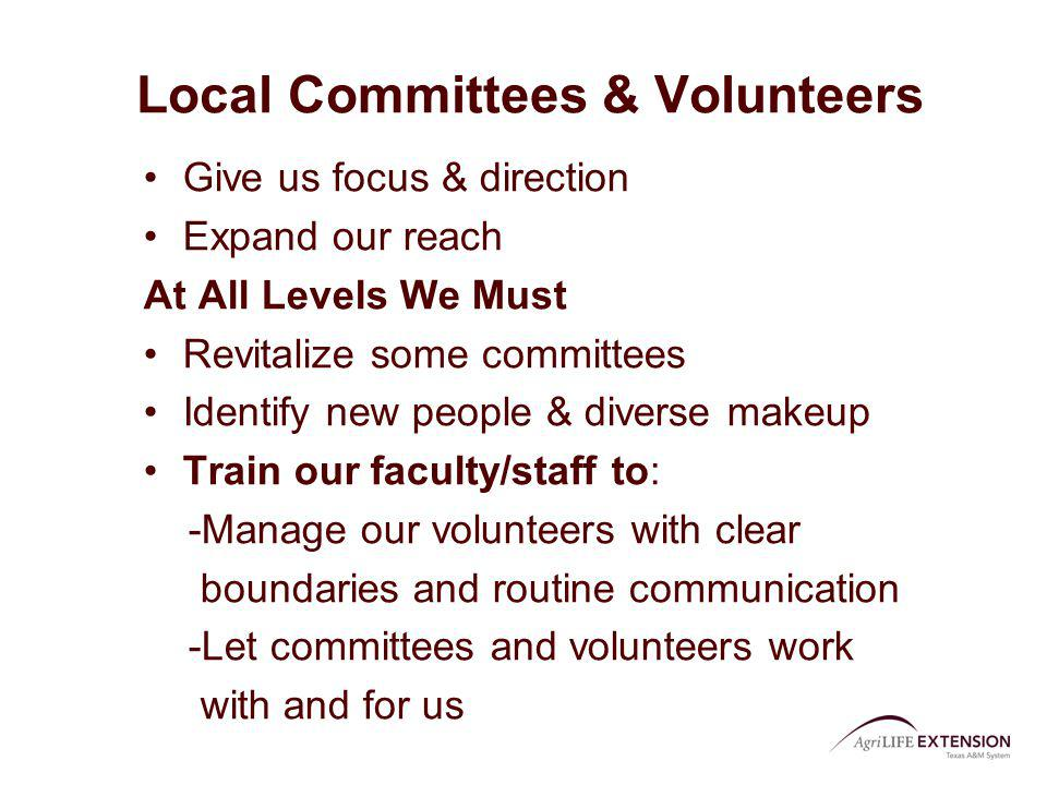 Local Committees & Volunteers Give us focus & direction Expand our reach At All Levels We Must Revitalize some committees Identify new people & divers
