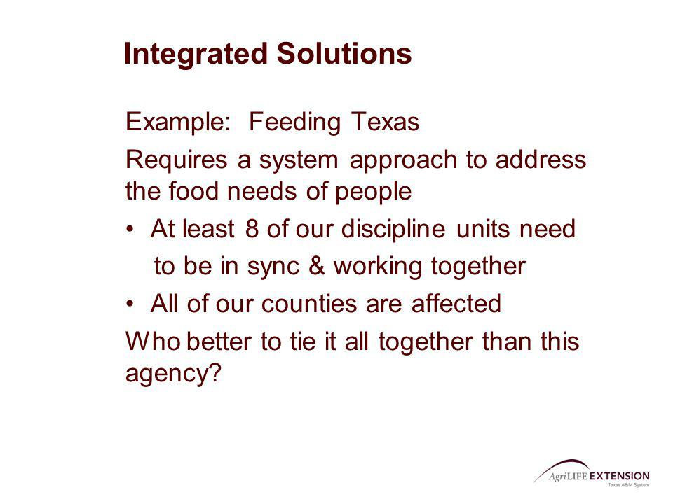 Integrated Solutions Example: Feeding Texas Requires a system approach to address the food needs of people At least 8 of our discipline units need to