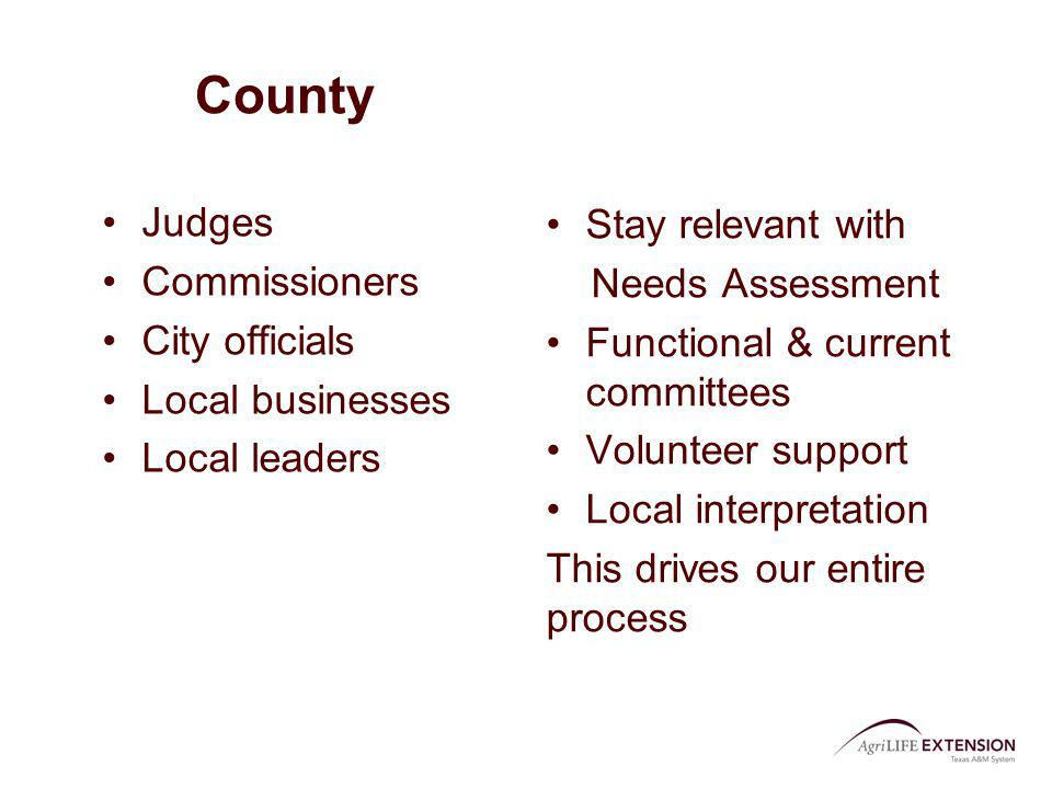 County Judges Commissioners City officials Local businesses Local leaders Stay relevant with Needs Assessment Functional & current committees Voluntee