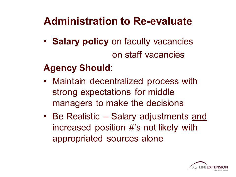 Administration to Re-evaluate Salary policy on faculty vacancies on staff vacancies Agency Should: Maintain decentralized process with strong expectat