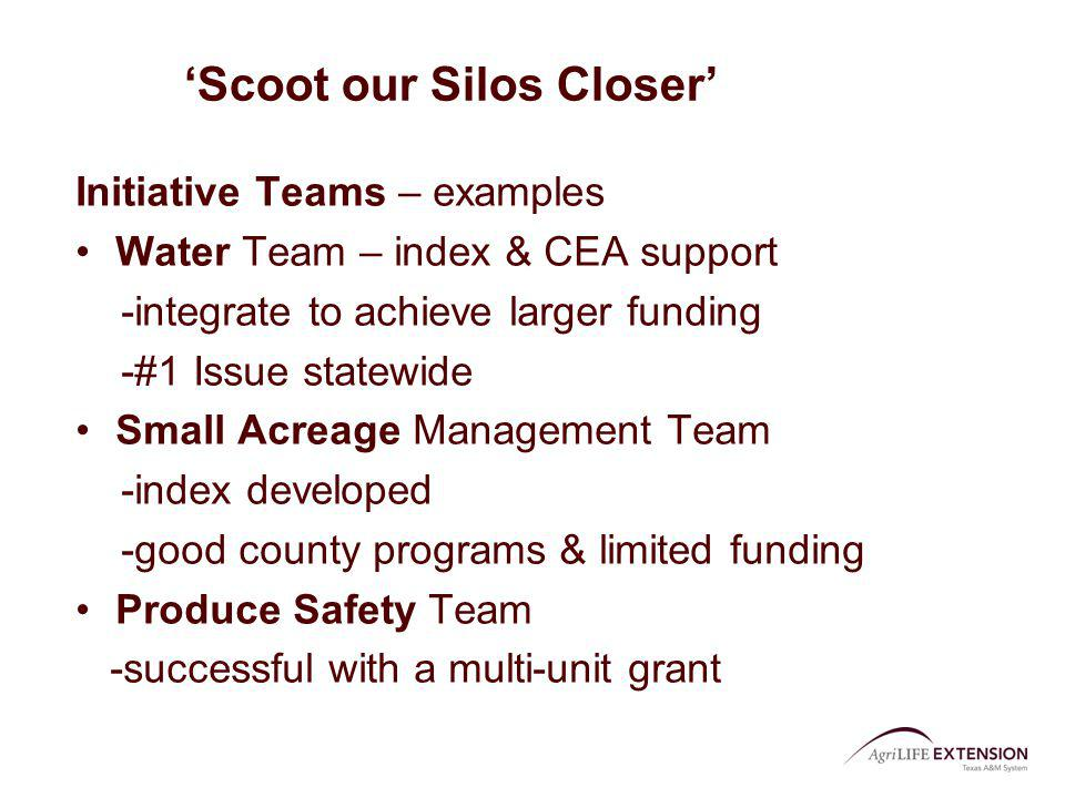 Scoot our Silos Closer Initiative Teams – examples Water Team – index & CEA support -integrate to achieve larger funding -#1 Issue statewide Small Acr