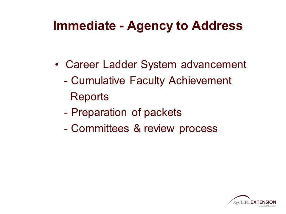 Immediate - Agency to Address Career Ladder System advancement - Cumulative Faculty Achievement Reports - Preparation of packets - Committees & review