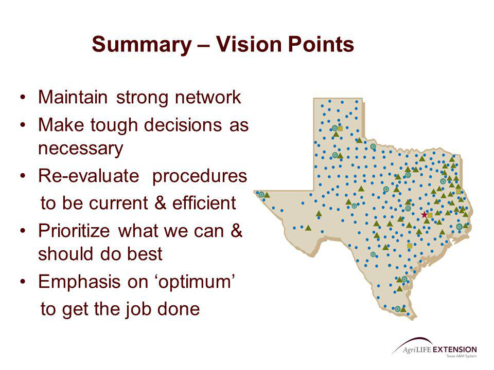 Summary – Vision Points Maintain strong network Make tough decisions as necessary Re-evaluate procedures to be current & efficient Prioritize what we