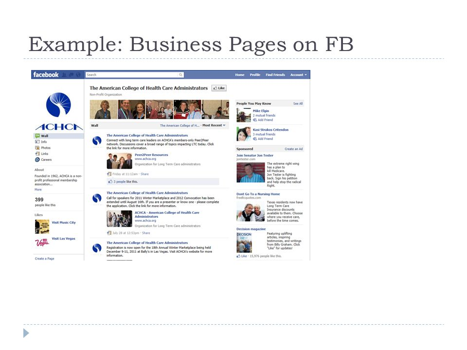 Example: Business Pages on FB