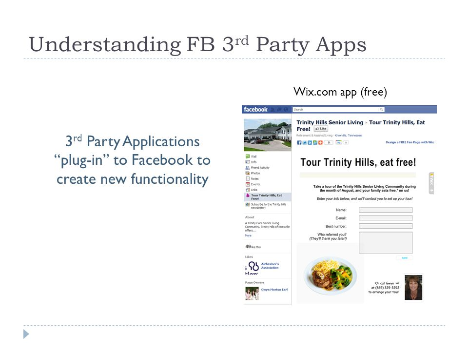 Understanding FB 3 rd Party Apps Wix.com app (free) 3 rd Party Applications plug-in to Facebook to create new functionality