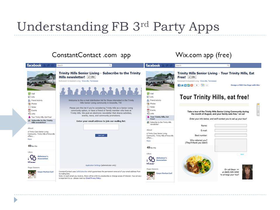 Understanding FB 3 rd Party Apps ConstantContact.com appWix.com app (free)