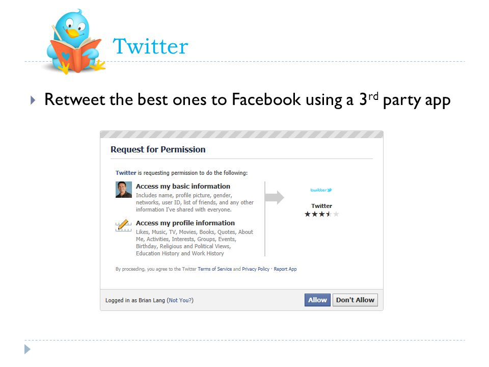 Twitter Retweet the best ones to Facebook using a 3 rd party app