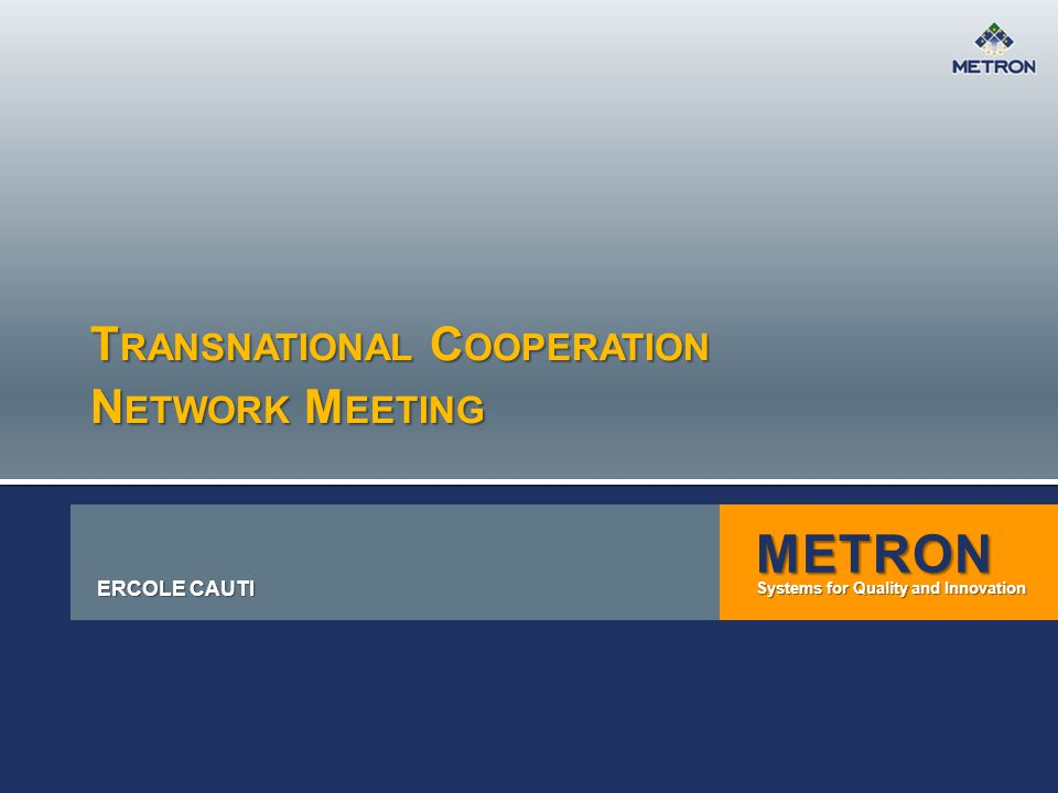 METRON Systems for Quality and Innovation ERCOLE CAUTI T RANSNATIONAL C OOPERATION N ETWORK M EETING