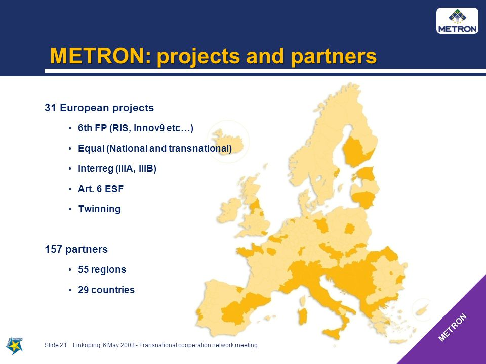 METRON: projects and partners Slide 21 31 European projects 6th FP (RIS, Innov9 etc…) Equal (National and transnational) Interreg (IIIA, IIIB) Art.