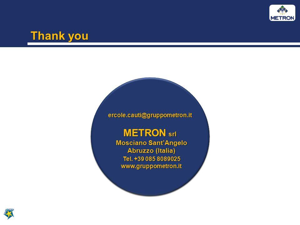 Thank you ercole.cauti@gruppometron.it METRON srl Mosciano SantAngelo Mosciano SantAngelo Abruzzo (Italia) Abruzzo (Italia) Tel.