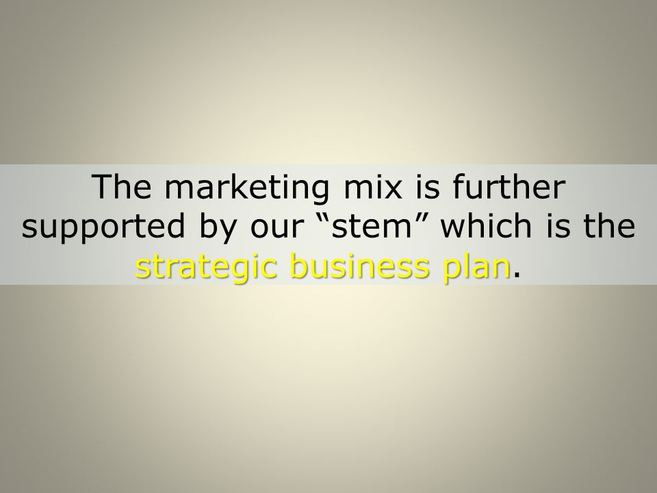 strategic business plan The marketing mix is further supported by our stem which is the strategic business plan.