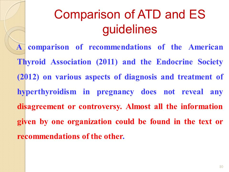 A comparison of recommendations of the American Thyroid Association (2011) and the Endocrine Society (2012) on various aspects of diagnosis and treatment of hyperthyroidism in pregnancy does not reveal any disagreement or controversy.