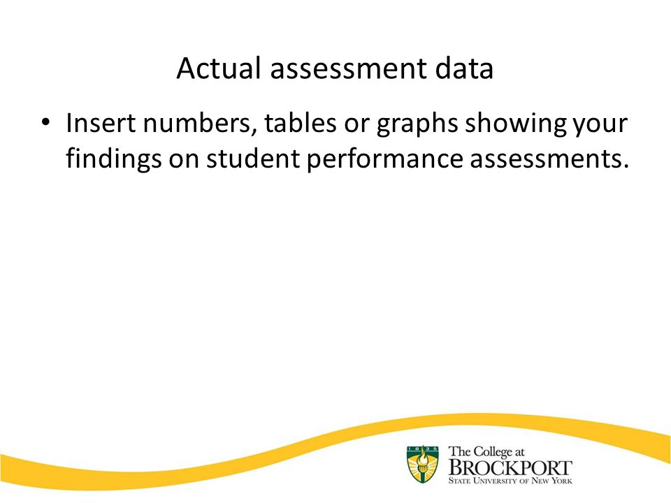 Actual assessment data Insert numbers, tables or graphs showing your findings on student performance assessments.