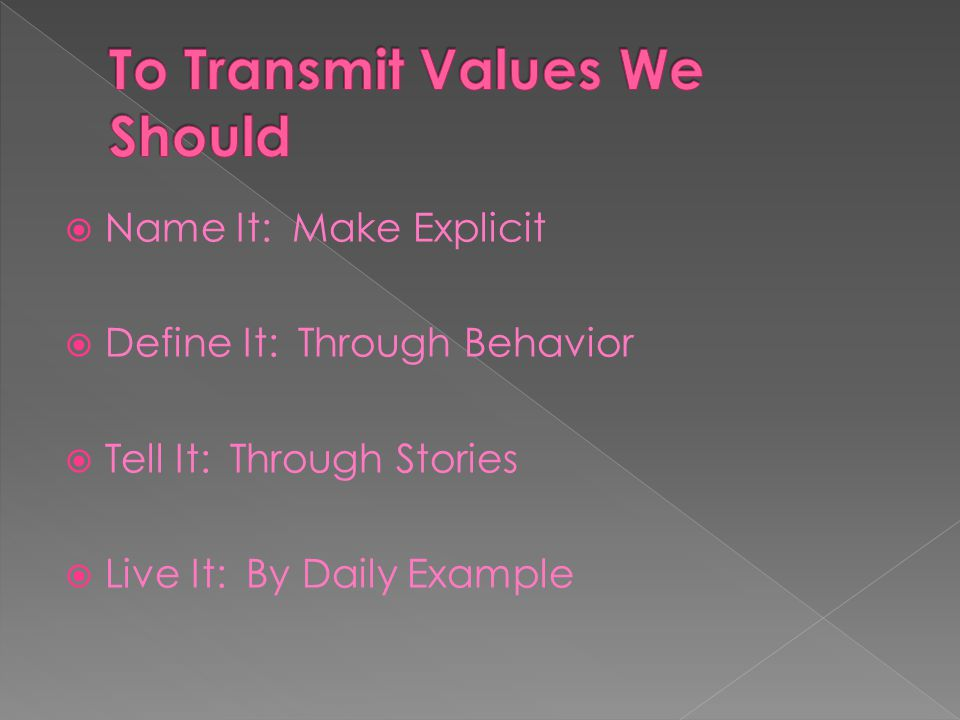 Name It: Make Explicit Define It: Through Behavior Tell It: Through Stories Live It: By Daily Example