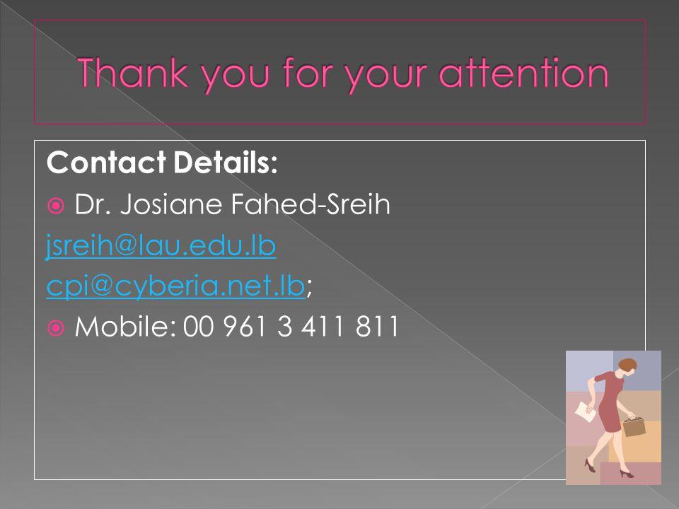 Contact Details: Dr. Josiane Fahed-Sreih jsreih@lau.edu.lb cpi@cyberia.net.lbcpi@cyberia.net.lb; Mobile: 00 961 3 411 811