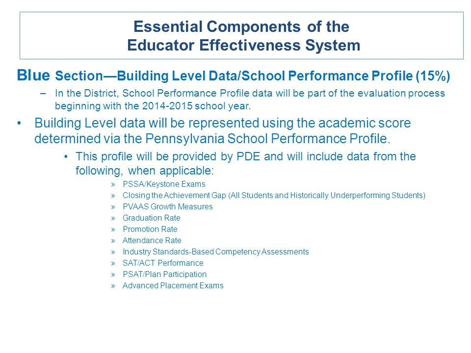 Blue SectionBuilding Level Data/School Performance Profile (15%) –In the District, School Performance Profile data will be part of the evaluation process beginning with the 2014-2015 school year.
