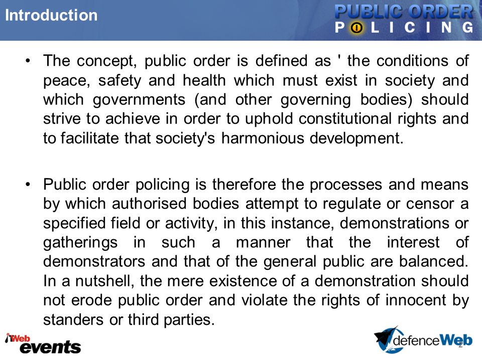 "Presentation ""When human rights congregate with Public Order ..."
