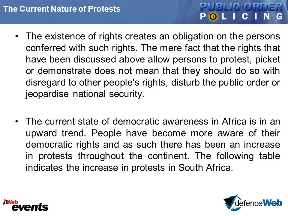 The Current Nature of Protests The existence of rights creates an obligation on the persons conferred with such rights. The mere fact that the rights