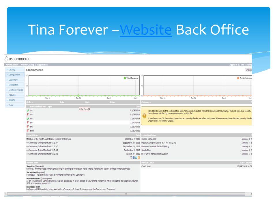 Tina Forever –Website Back OfficeWebsite