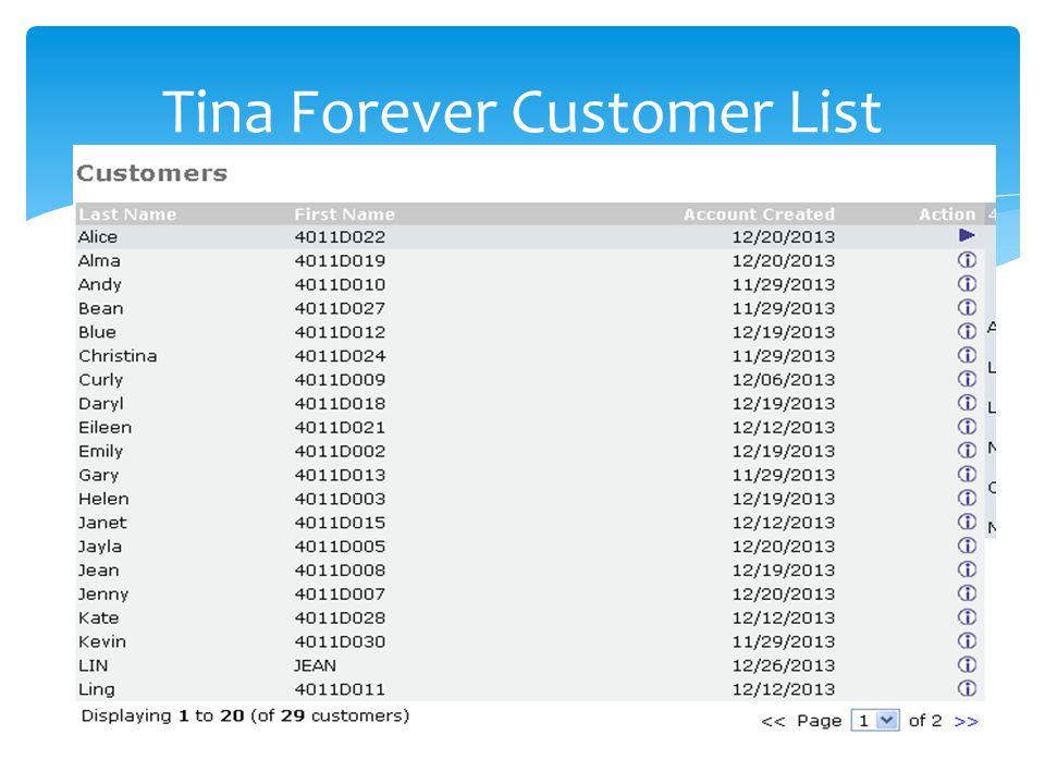 Tina Forever Customer List