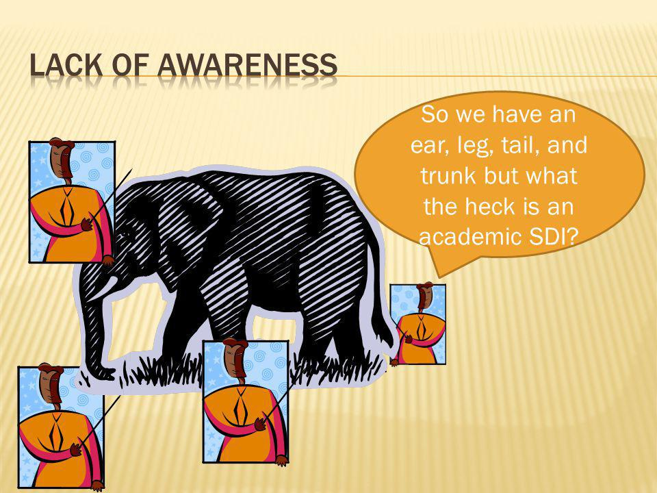 So we have an ear, leg, tail, and trunk but what the heck is an academic SDI