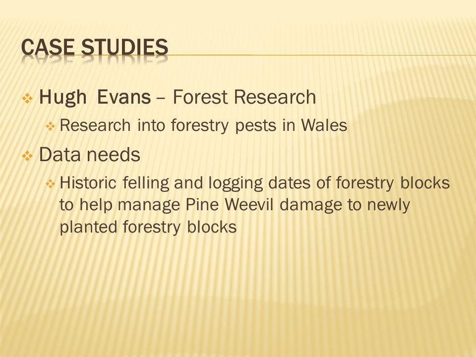 Hugh Evans – Forest Research Research into forestry pests in Wales Data needs Historic felling and logging dates of forestry blocks to help manage Pine Weevil damage to newly planted forestry blocks