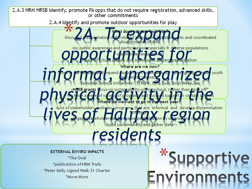 EXTERNAL ENVIRO IMPACTS *The Oval *publication of HRM Trails *Peter Kelly signed Walk 21 Charter *Move More 2.A.3 HRM HRSB Identify, promote PA opps t